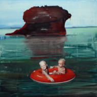 001.+Children+in+Boat+with+Seascape,+Oil+on+Linen,+900mm+x+900mm