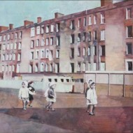 002.+Council+Flats+with+Children,+Oil+on+Linen,+700mm+x+900mm