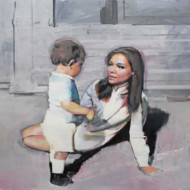005.+Mother+with+Child,+Oil+on+Linen,+550mm+x+700mm