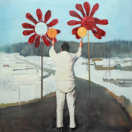 008.+Signaller+with+Flowers,+Oil+on+Linen,+800mm+x+800mm
