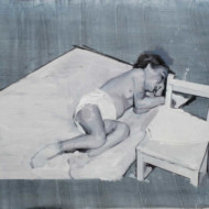 009.+Sleeping+Child+with+Chair,+Oil+on+Linen,+350mm+x+450mm