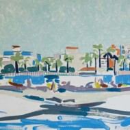 020.+Sitges-+Barcelona+in+Dufy+Vision,+610mm+x+900mm,+Oil+on+Canvas